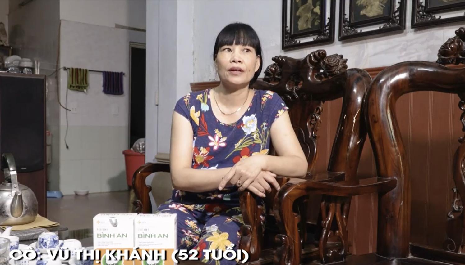 Cô Khánh, khách hàng bị thiểu năng tuần hoàn não đã dùng Bình An nano